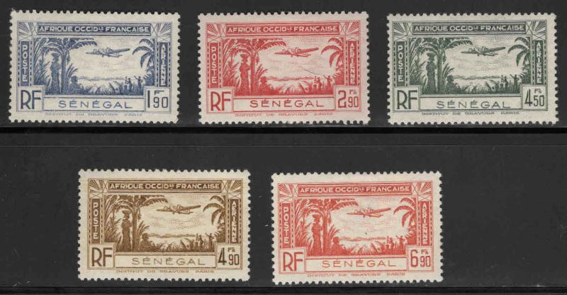 Senegal Scott C12-C16 airmail stamp set