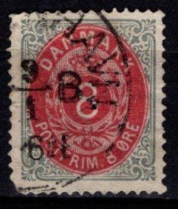 Denmark 1875-1903 Definitive, 8o aniline carmine / grey normal border [Used]
