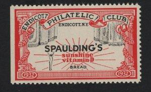 United States 1932 ENDICOTT PHILATELIC CLUB CINDERELLA  - BARNEYS