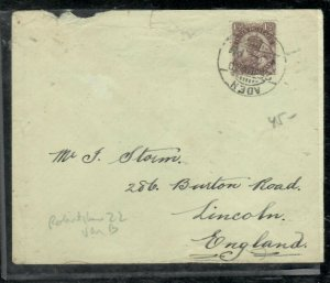 ADEN COVER (P0206B)1930 ON INDIA KGV 1 1/2A COVER TO ENGLAND ROBERTSHAW 22 VAR B