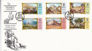 Jersey 1984 Links with Australia Artists V FDC Unadressed with enclosure VGC