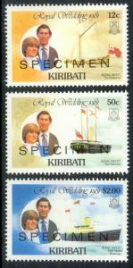 KIRIBATI 1981 Charles and Diana Wedding Specimen Stamps Sc 373,375,377 MNH