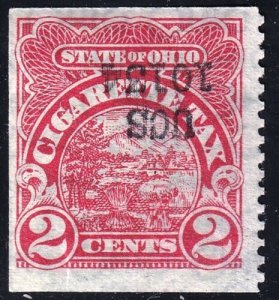 US STAMP BOB REVENUE STATE OHIO CIGARETTE TAX PAID 2C OVPT INVERTED