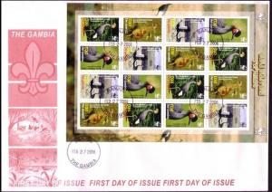 Gambia Birds WWF Black Crowned Crane FDC Sheetlet of 4 sets