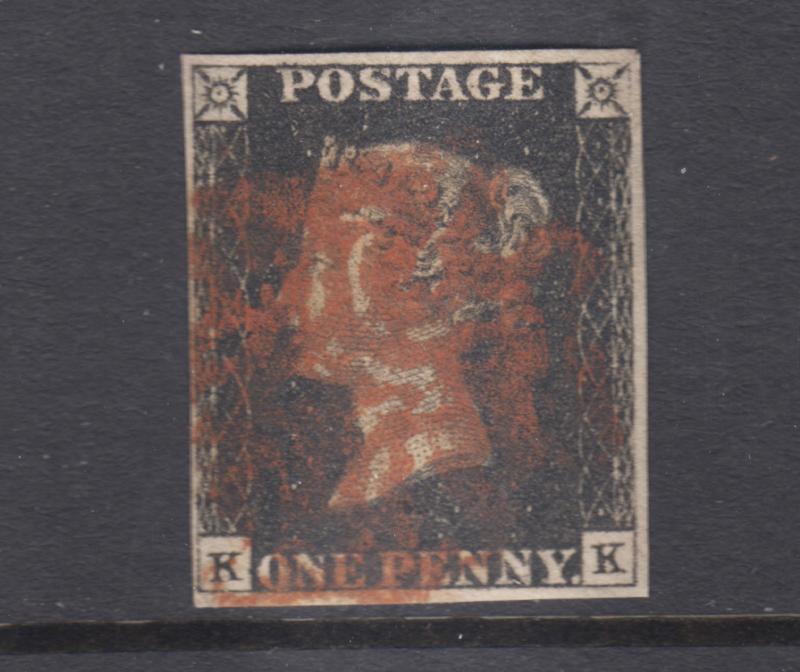 Great Britain Sc 1 used. 1840 Penny Black, corner letters K-K, sound, Plate 8