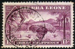 SIERRA LEONE GVI 1½d - PATROL POST No.2 cds - railway TPO cancel...........46524