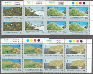 PITCAIRN 1981 Scenic Views set plate blocks of 4 MNH.......................55270