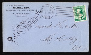 1887 2 CENT BANKNOTE COVER BOSTON MASS MACHINE CANCEL ADVERTISING - BACKSTAMP