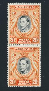 KUT BRITISH 1951, 20c DEEP ORANGE VERT PAIR, VF NEVER HINGED OG SG#139ba