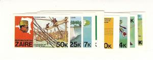 Zaire, 902-09, Pres. Mobutu & Map  Imperf Singles, MNH