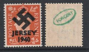 Jersey 1940 Swastika opt on Great Britain KG6 2d orange ...