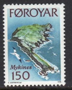Faroe Islands 1978 MNH Mykines island 150ore  #