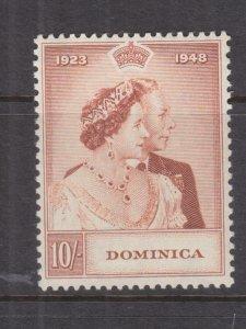 DOMINICA, 1948 Silver Wedding 10s., mnh., slight bend..
