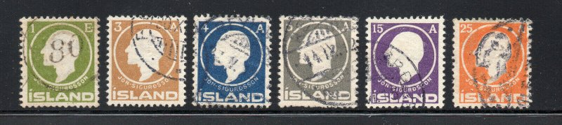 Iceland - Sc# 86-91 Used (#86 with nice 80 numeral cancel)  -   Lot 0221536