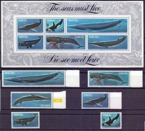 Namibia. 1979. 466-71 bl5. Whales. MNH.
