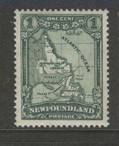 NEWFOUNDLAND 145 1928 1c NEWFOUNDLAND MAP P14.0x14.0 PICTORIAL ISSUE VF MNH