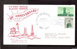US OR US Post Office PO 100th Anniv 1977 Bandon by the Sea Oregon Stamp Cover
