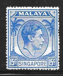 Singapore 11a: 15c George VI, MH, F-VF