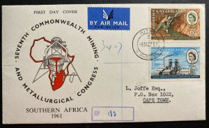 1961 Kitwe Southern Rhodesia First Day Cover To Capetown South Africa Mining Exh