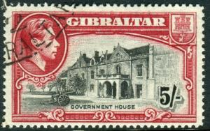 GIBRALTAR-1938 5/- Black & Carmine Perf 14.  A very fine used example Sg 129