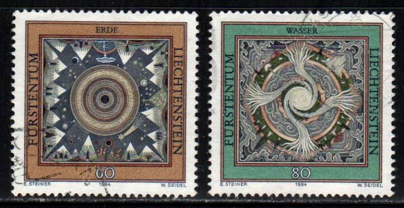Liechtenstein # 1036-37 ~ Short Set 2/3 ~ Used, HMR ~ cv 2.15