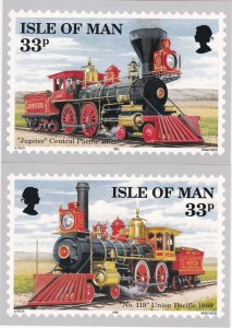 Isle of Man # 514-517, Early American Trains, Maxi Cards, Unused, Mint