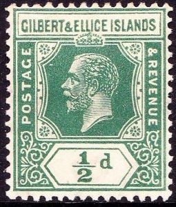 GILBERT & ELLICE ISLAND 1923 KGV ½d Green SG27 MH