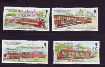 Isle of Man Sc 554-7 1993 Electric Railway stamp set  mint NH