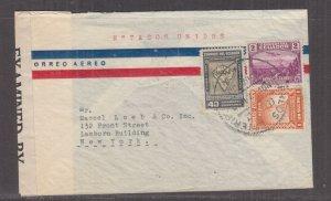 ECUADOR, c1942 Censored Airmail cover, Quito to USA, 40c., 1s. & 2s.