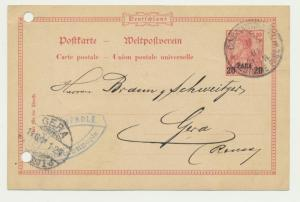 GERMAN OFFICES IN TURKISH EMPIRE 1901 20pa CARD CONTSTANTINOPLE-GERA (SEE BELOW