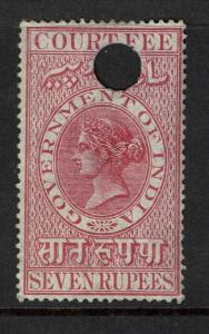 India 1872 7R Red Court Fee Used / BF# 168 - S2171