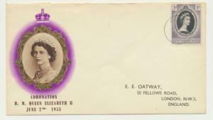 ST HELENA 1953, CORONATION FIRST DAY COVER TO UK (SEE BELOW)