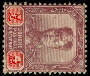 MALAYSIA - Johore SG81a, 4c dull purple & carmine, UNUSED. Cat £20.