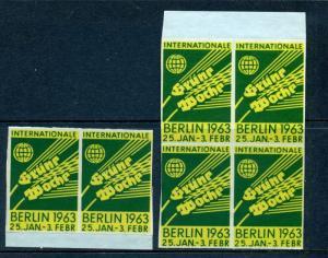 6 VINTAGE 1963 INTERNATIONAL GREEN WEEK EXPO POSTER STAMPS (L782) BERLIN GERMANY