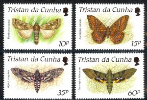 Tristan Da Cunha Sc# 472-475 MNH 1990 Moths