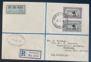 1932 Khartoum Sudan First Flight Cover FFC To Windhoek South West Africa