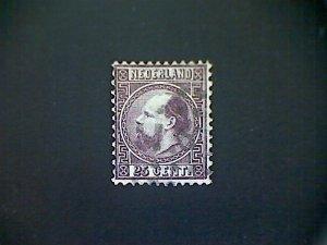 Netherlands, Scott #11, used (o), 1867, King William III, 25cts, dark violet