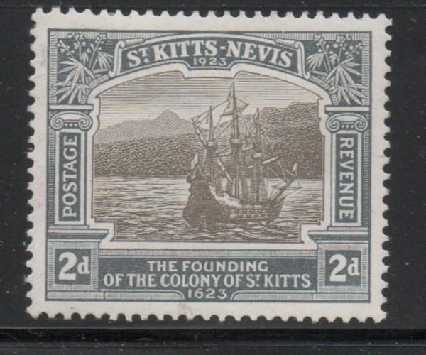 St Kitts Nevis Sc 55 1923 2d ship 300th Anniversary stamp mint