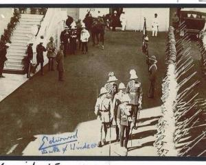 29d 1922 INDIA ROYAL VISIT *King Edward VIII Autograph* MILITARY PPC Hyderabad