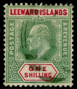 LEEWARD ISLANDS SG26, 1s Green & Carmine, USED. Cat £30.