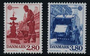Denmark 826-7 MNH EUROPA, Street Sweeper, Garbage Truck