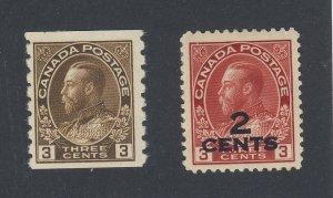2x Canada WW1 Admiral Stamps #129-3c Coil & #141-2c/3c Prov Guide Value = $42.00