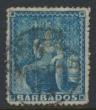 Barbados SG 48 SC# 29  Used  Blue rough perf 14-16  see scans and details
