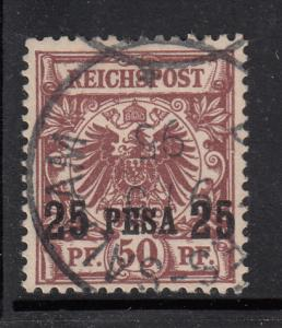 German East Africa 1893 used Scott #5 25 pesa on 50pf Crown/eagle