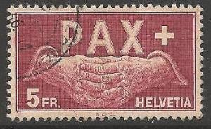 SWITZERLAND SG458 1945 5f PEACE FINE USED