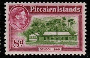 PITCAIRN ISLANDS SG6a 1951 8d OLIVE-GREEN & MAGENTA MNH