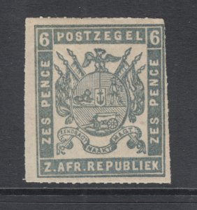 Transvaal Sc 26 MNH. 1870 6p ultra Coat of Arms, rouletted 15½, Otto Forgery