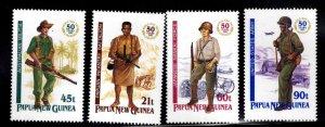 Papua New Guinea Scott 790-793  MNH** WW2 soldier set 1996