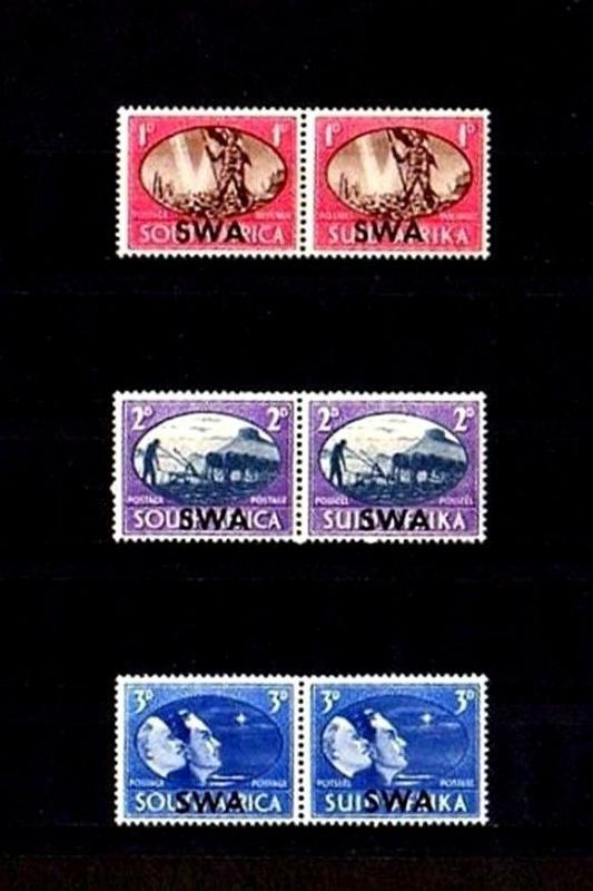SOUTH WEST AFRICA - 1945 - PEACE  ISSUE - VICTORY - HOPE - 3 X MINT - MLH PAIRS!