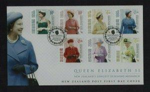 New Zealand: 2015, Queen Elizabeth, New Zealand's Longest Reigning Monarch, FDC